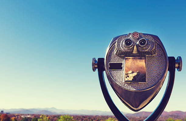 Coin-operated viewer looking out over an autumn landscape stock photo