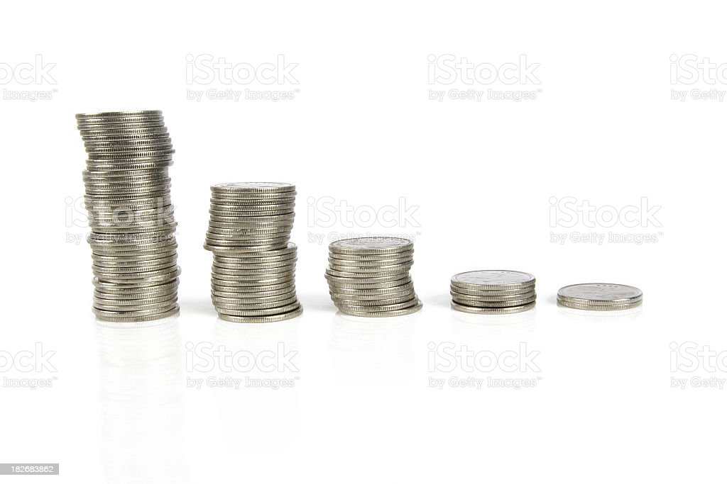 Coins - 5 stacks royalty-free stock photo
