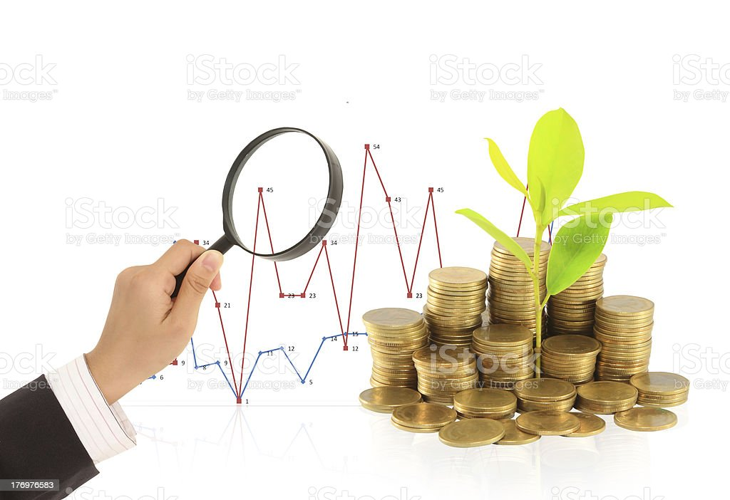 Coins and a magnifier royalty-free stock photo