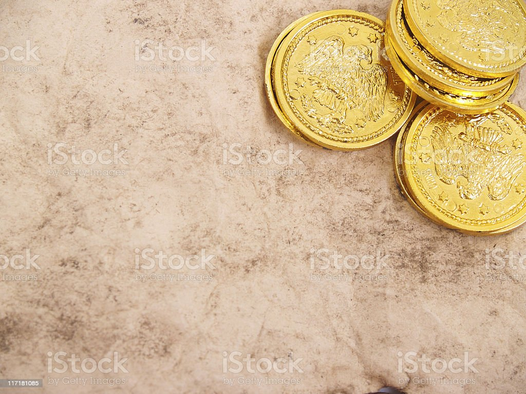 Coins and Copy Space royalty-free stock photo