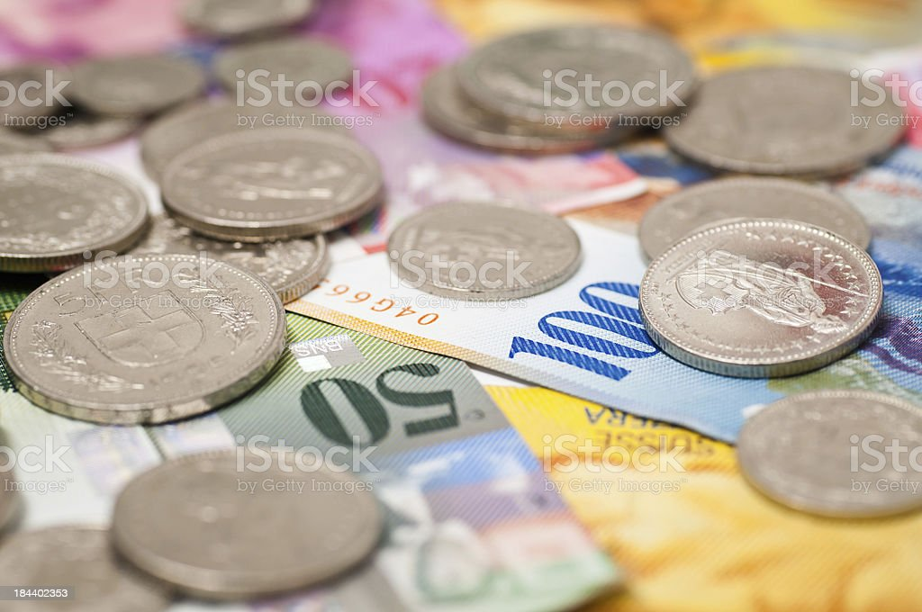 coins and notes from switzerland royalty-free stock photo
