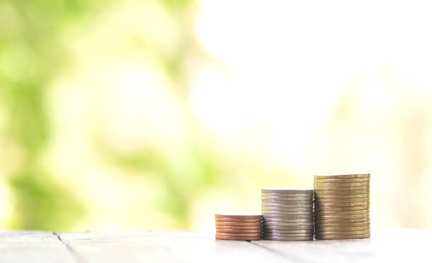 coins are stacked in different piles and together form an upward curve. In the background you can see the green of nature. Concept for the profitable investment of money stock photo