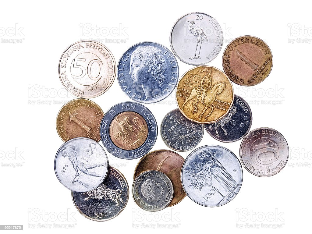 Coins  before Euro royalty-free stock photo