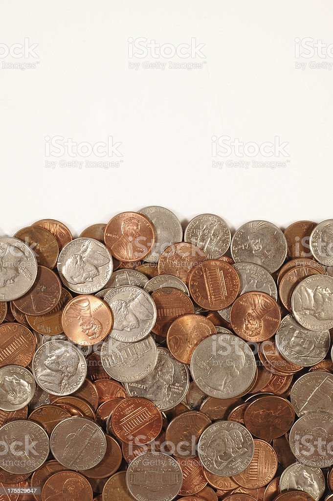 U.S. Coins Bottom Border stock photo