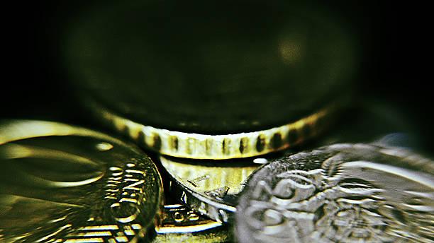 Moedas Close-Up - foto de acervo