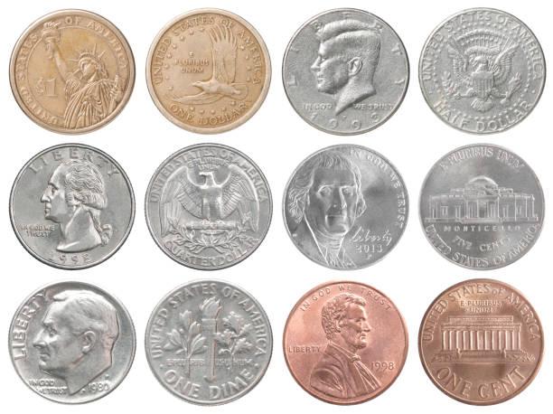 us-münzen sammlung - lincoln united stock-fotos und bilder