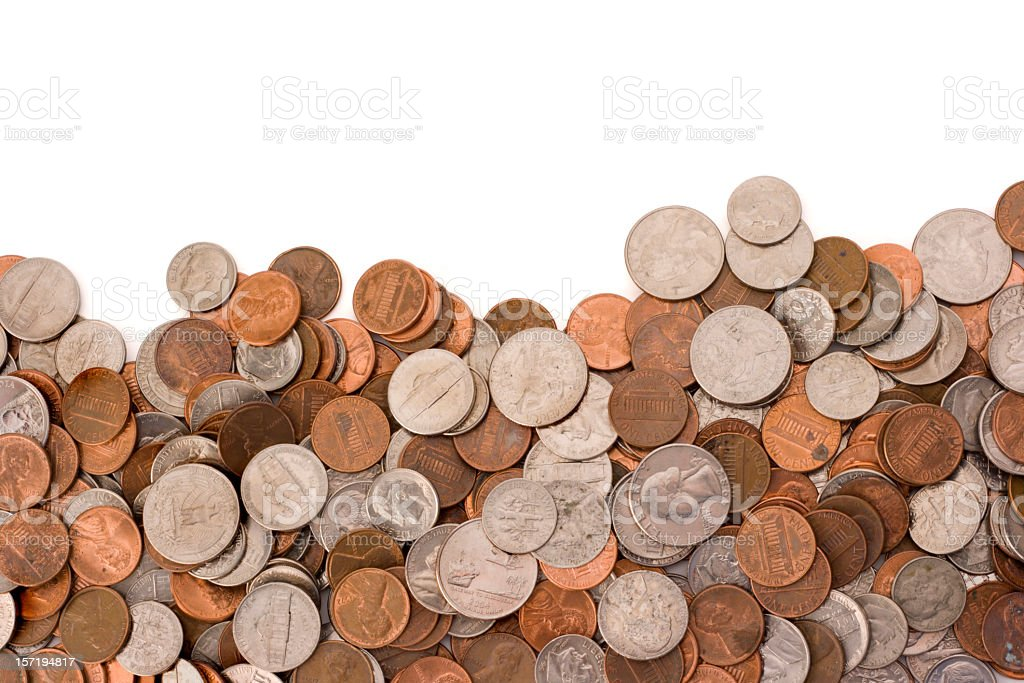 Coins Currency Pile of Wealth and Savings on White Background stock photo
