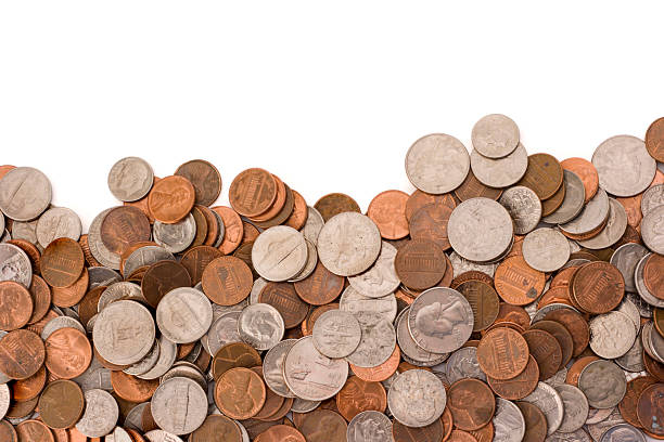coins currency pile of wealth and savings on white background - coin stock photos and pictures