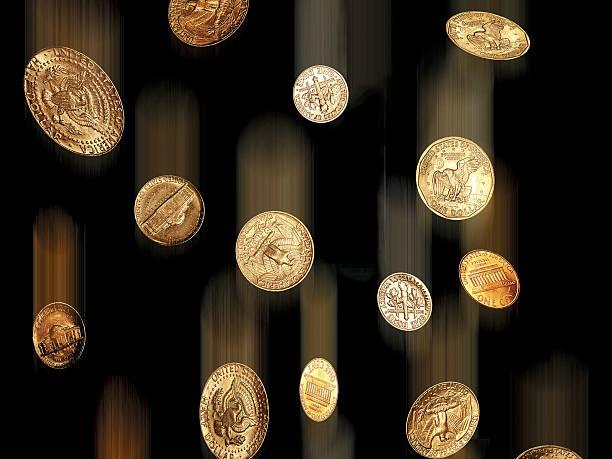 Uns Münzen fallen down-Hintergrund – Foto