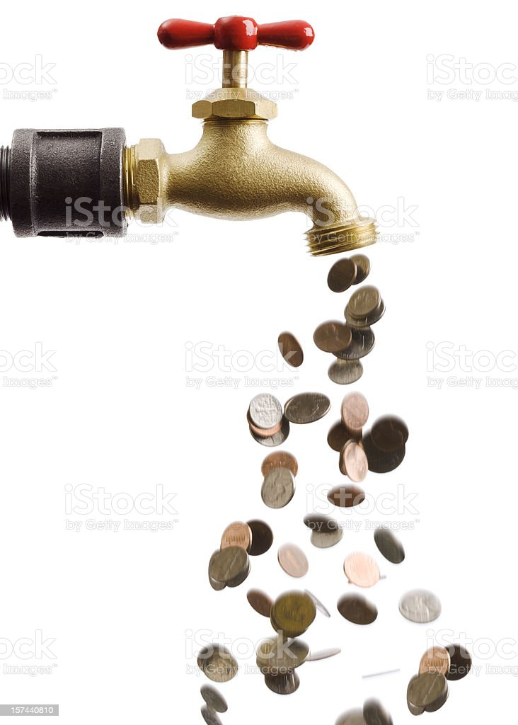 Coins Falling Down the Drain of Currency Cash Flow Faucet stock photo