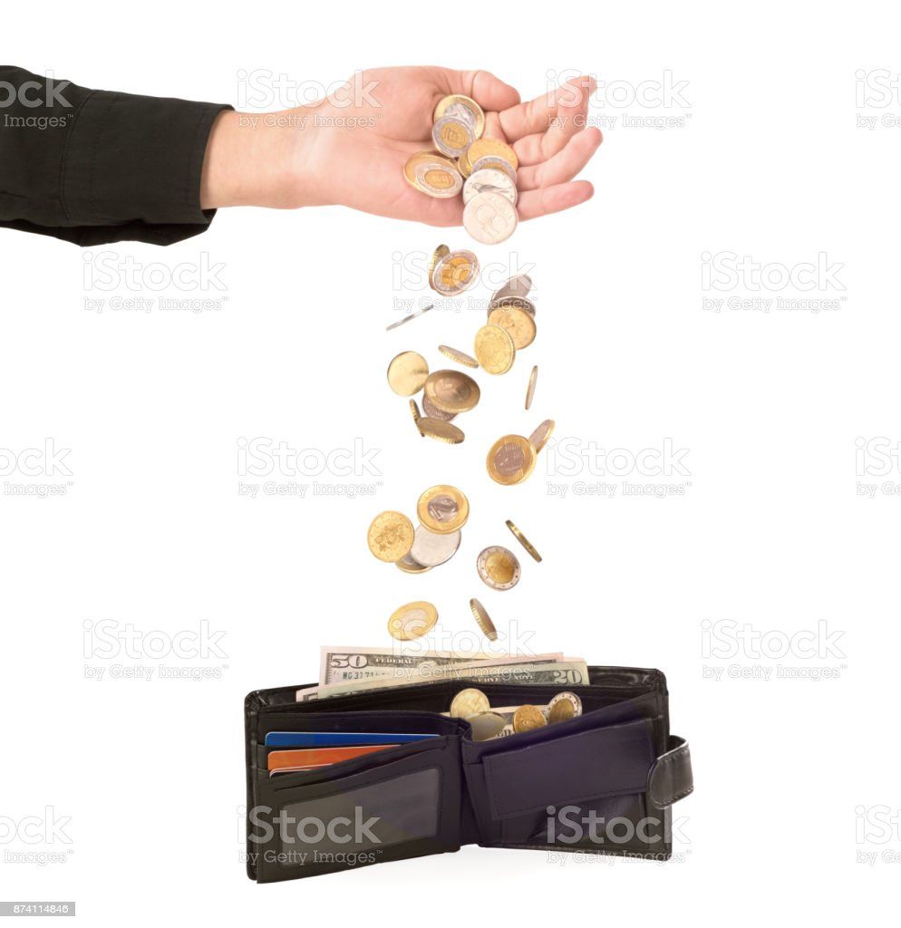 Coins falling stock photo