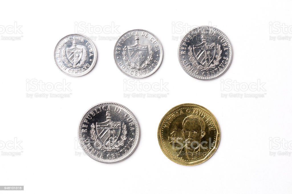 Coins from Cuba stock photo
