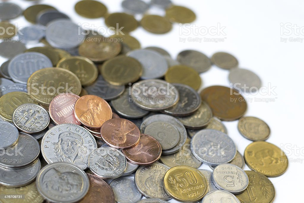 Coins from several countries royalty-free stock photo