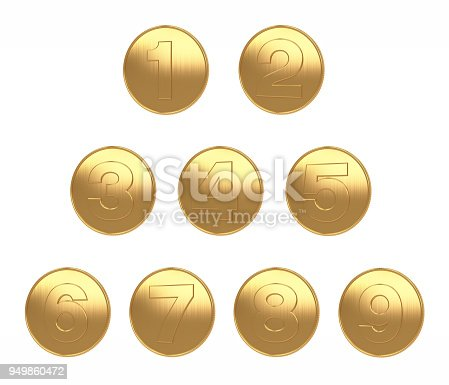 istock 1-9 coins gold big image white background for di cut 3d rendering 949860472