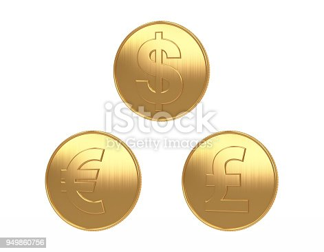 istock US EURO POUND coins gold big image white background for di cut 3d rendering 949860756