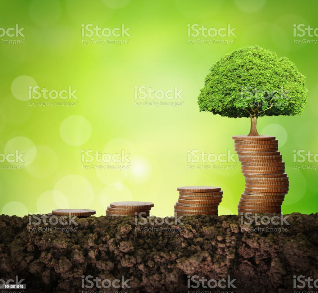 Coins graph stock market - Royalty-free Business Stock Photo