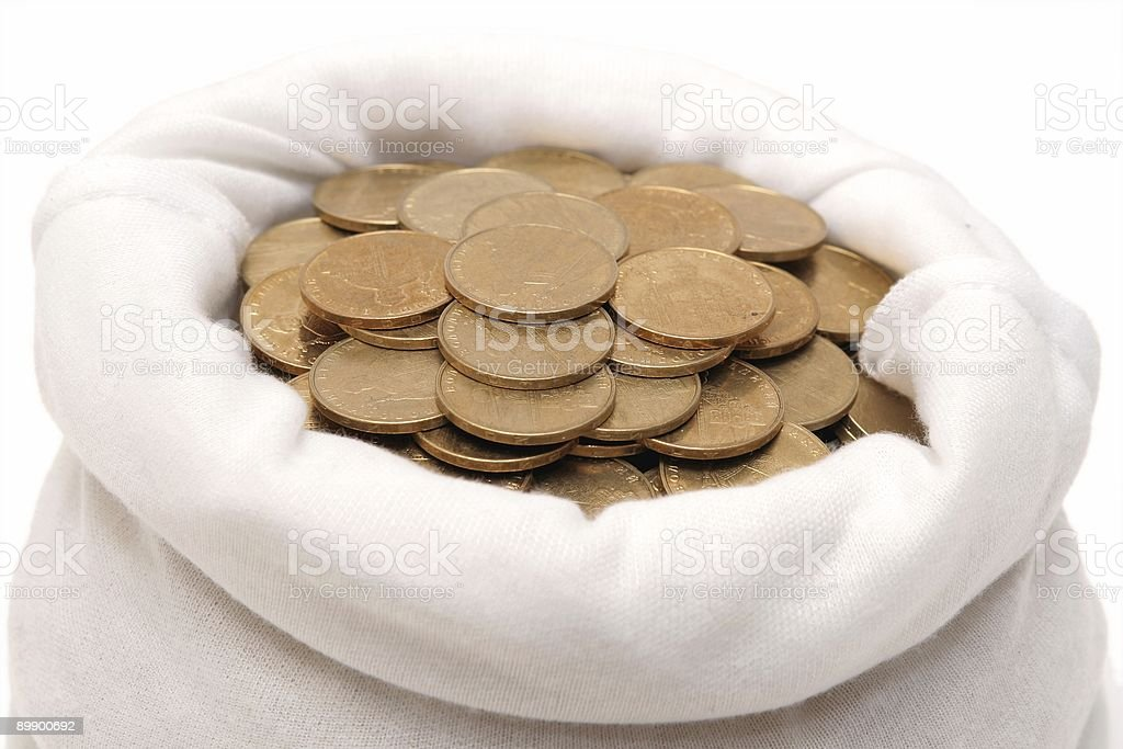 Coins in a bag royalty-free stock photo