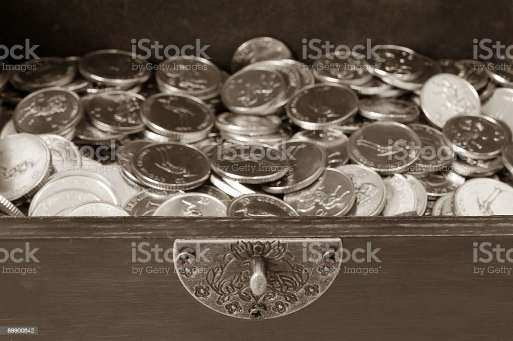 Coins in a box royalty-free stock photo