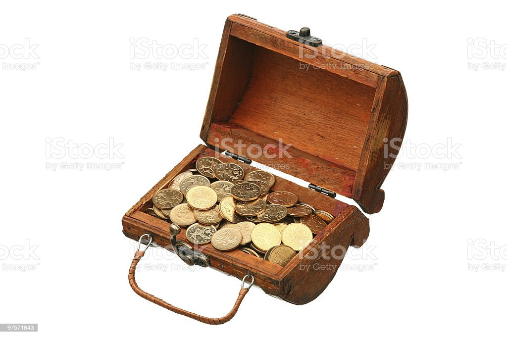 Coins in a trunk royalty-free stock photo