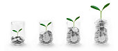istock Coins in glass with treetop growing, business and finance ,saving,banking, Money, Financial, Business Growth concept 823161220