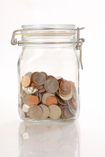 Coins In The Glass Jar Stock Photo - Download Image Now