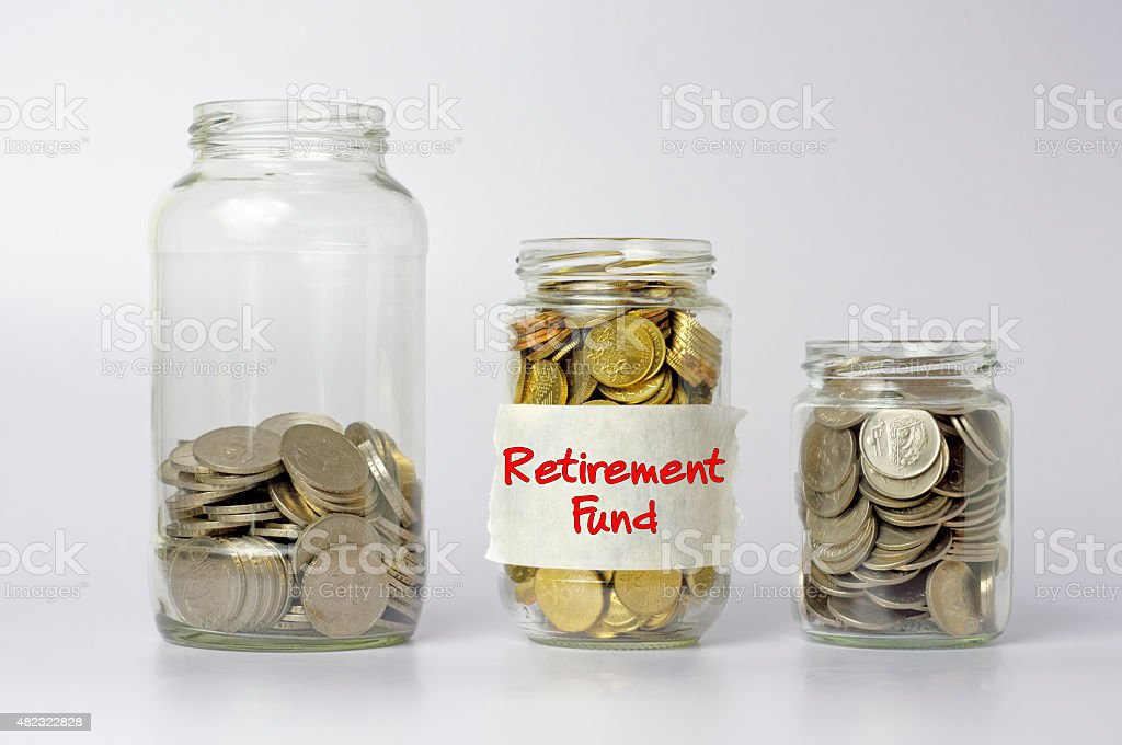 Coins in Three Different Size of Jar - Financial Concept stock photo