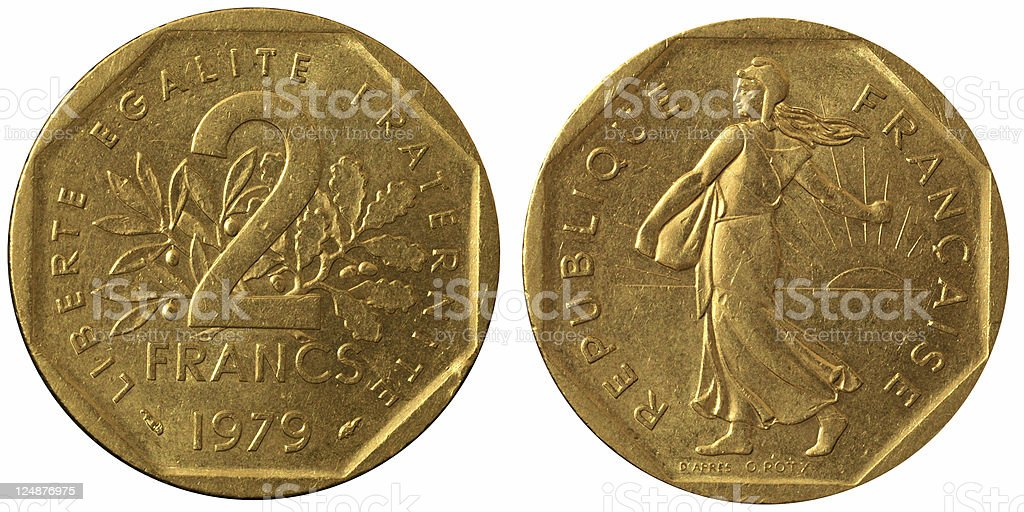 Coins Macro - 2 French Francs stock photo