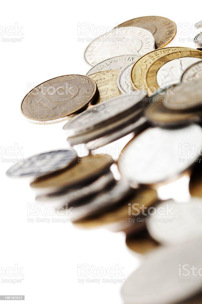 Coins Macro Background on White royalty-free stock photo