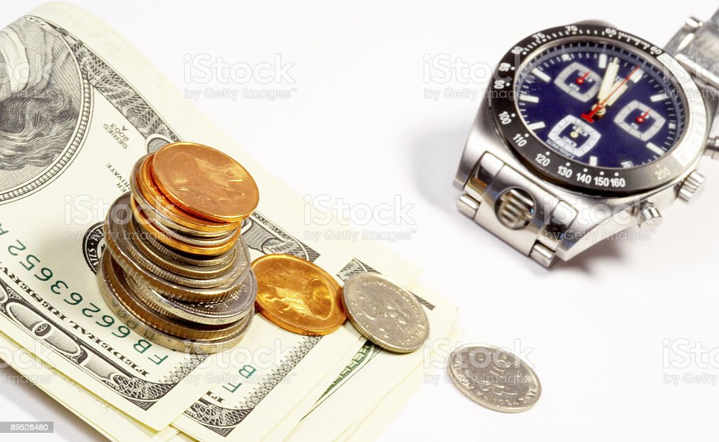 coins notes and watch 免版稅 stock photo