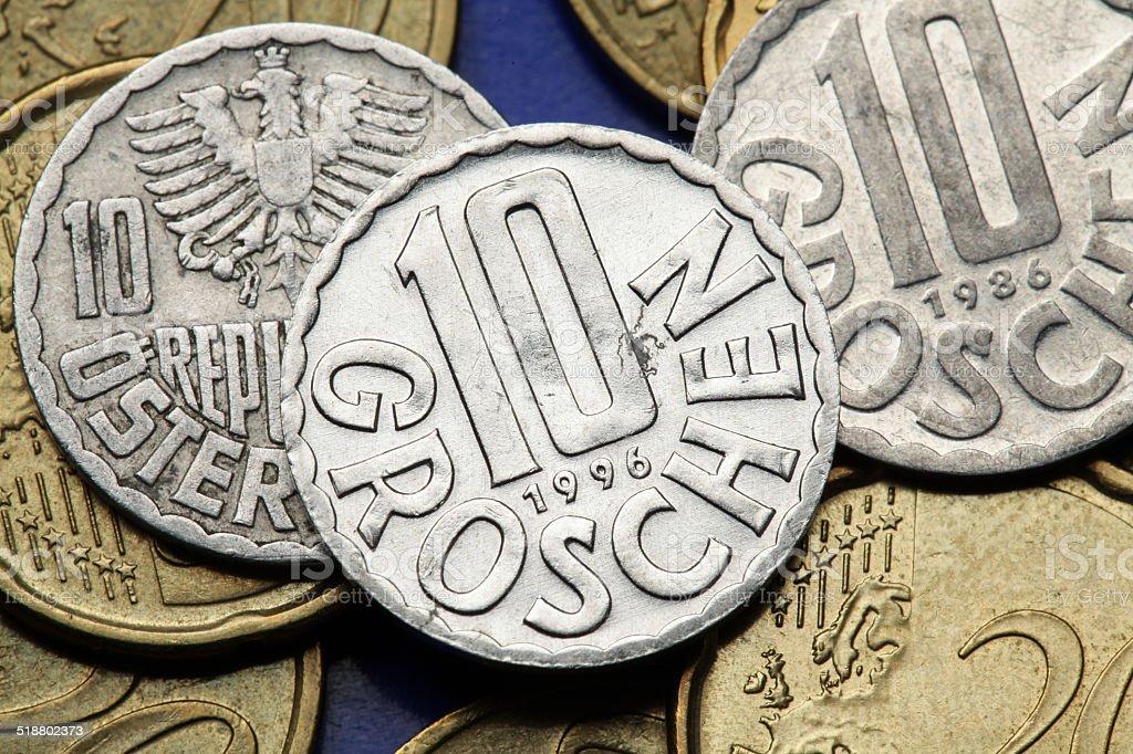 Coins of Austria stock photo