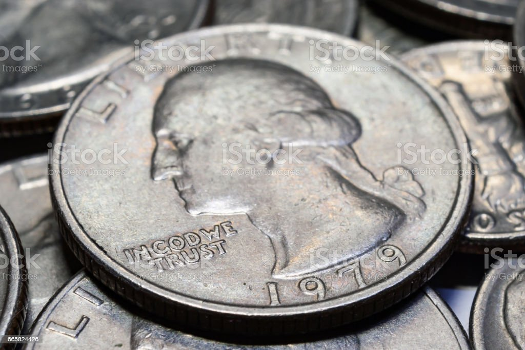 Coins of different denominations closeup. Macro photo stock photo