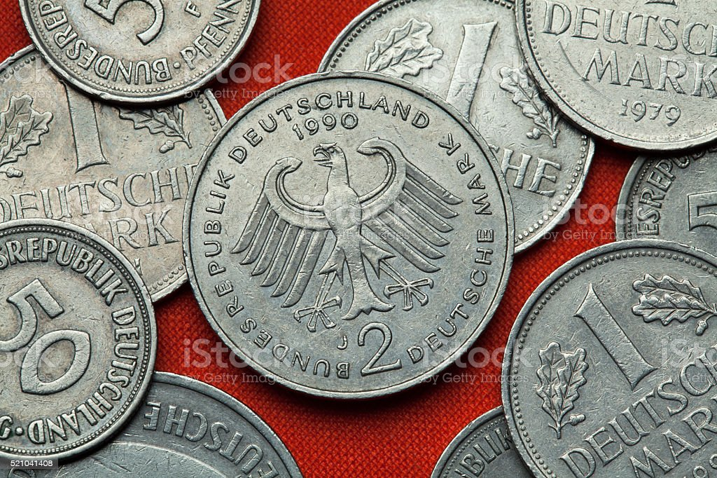 Coins of Germany. German eagle stock photo