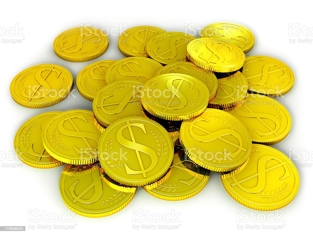 Coins of Gold with Dollar Symbols royalty-free stock photo