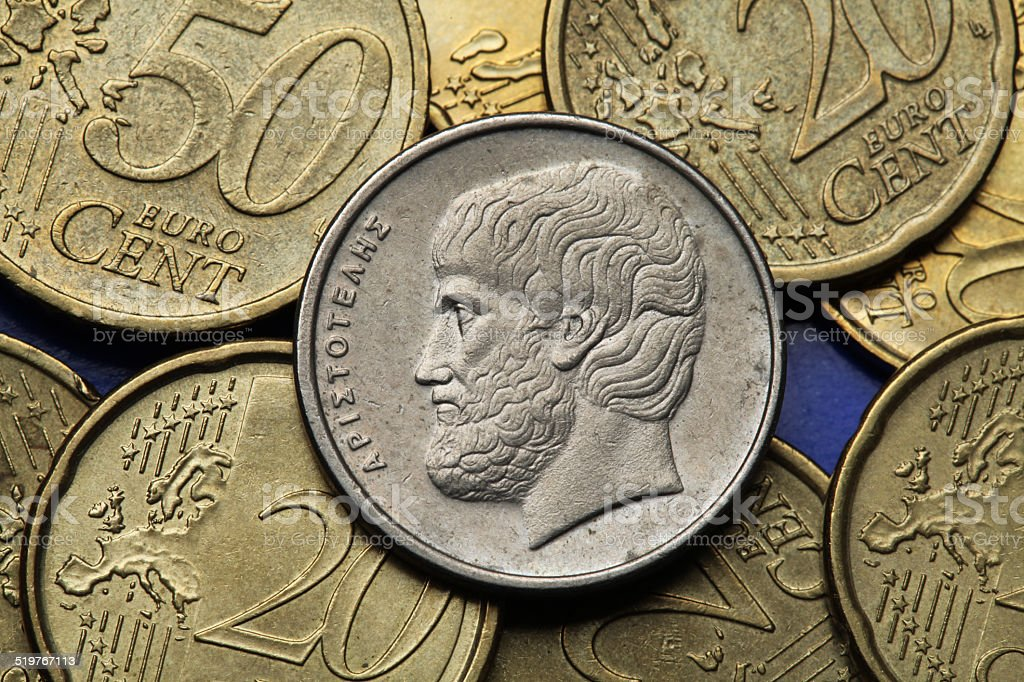 Coins of Greece stock photo