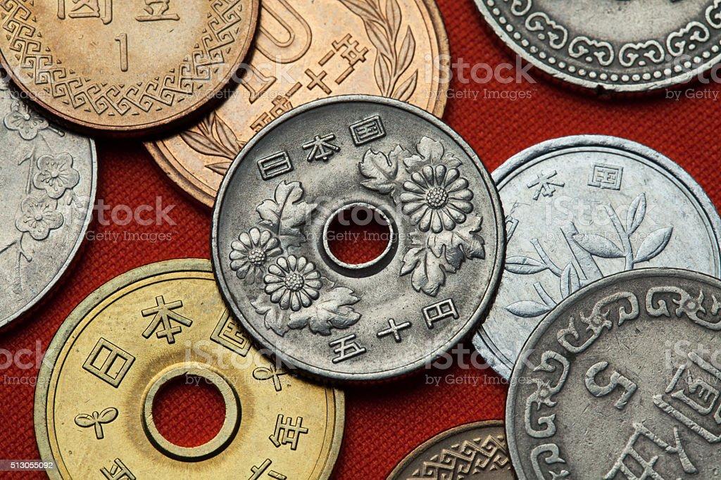 Münzen Von Japan Chrysantheme Blumen Stock Fotografie Und Mehr