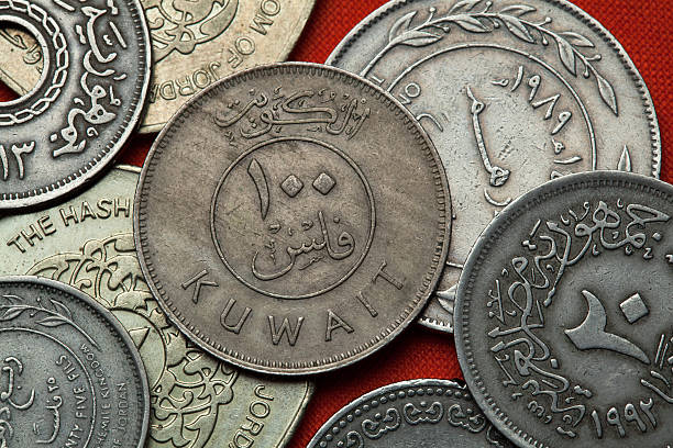 coins of kuwait - kuwait currency stock photos and pictures
