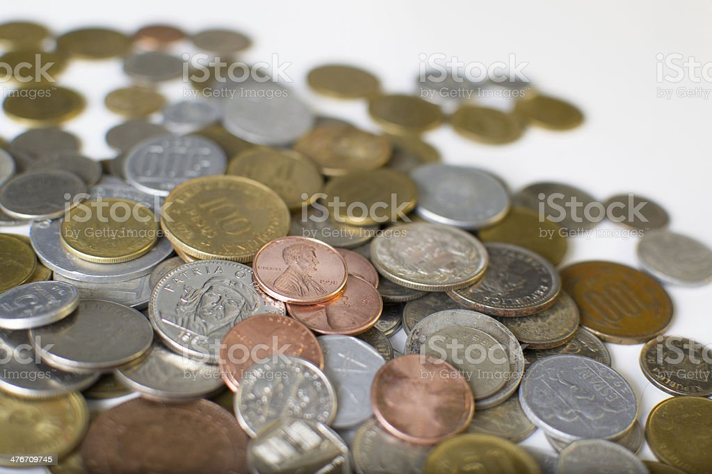 Coins of several countries royalty-free stock photo