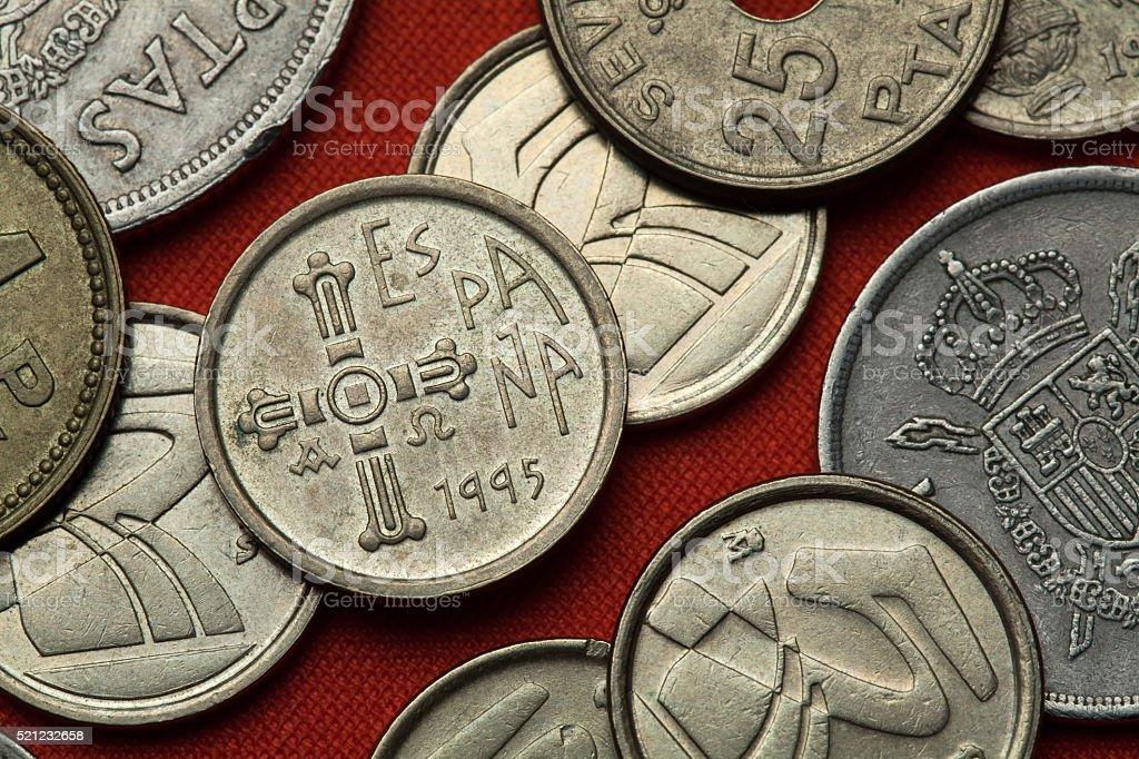 Coins of Spain. Asturian medieval Cruz de la Victoria stock photo