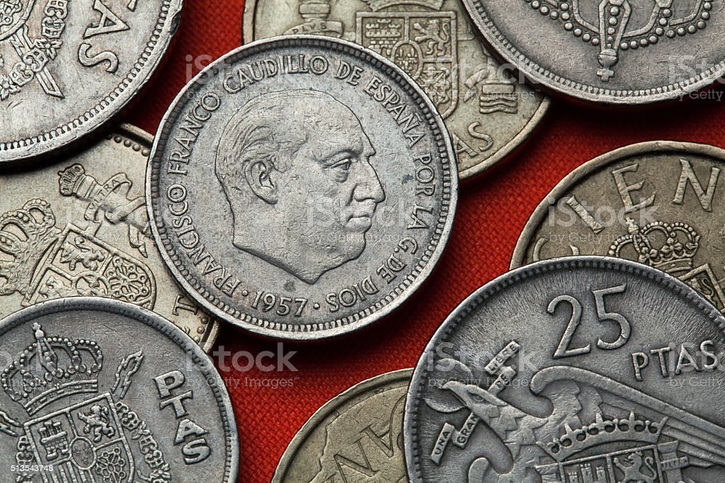 Coins of Spain. Spanish dictator Francisco Franco stock photo