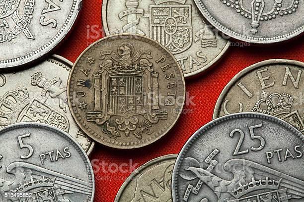 Coins of Spain. Spanish state emblem under Franco