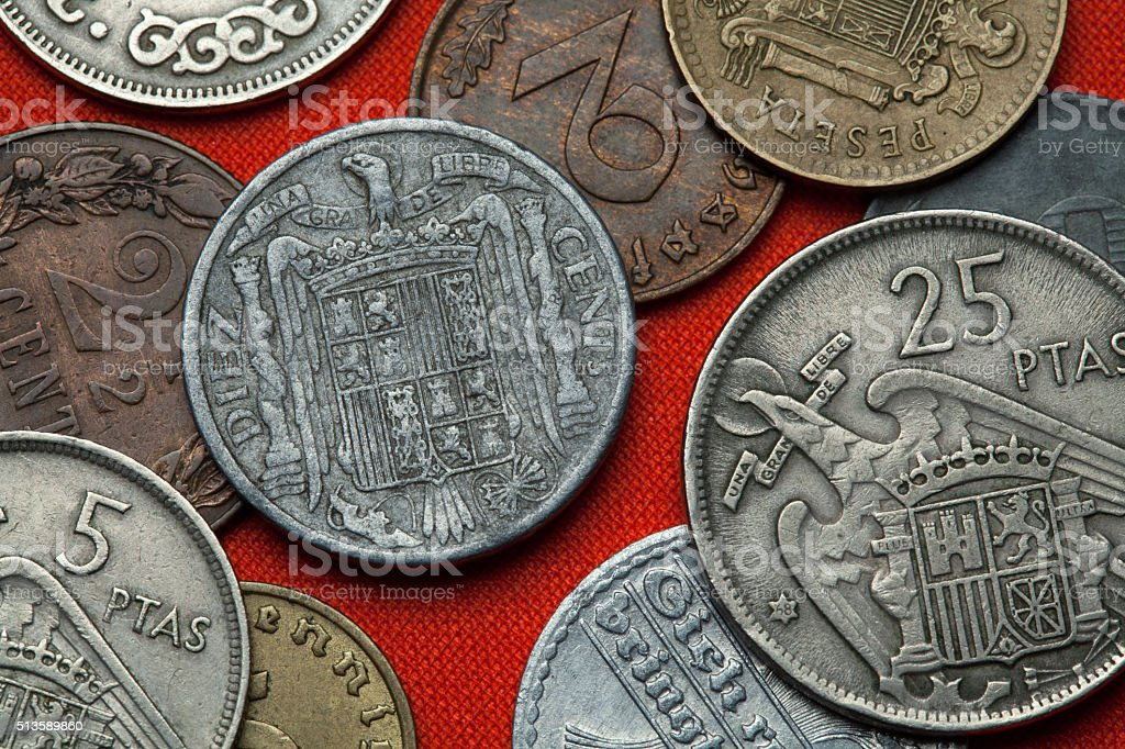 Coins of Spain under Franco stock photo