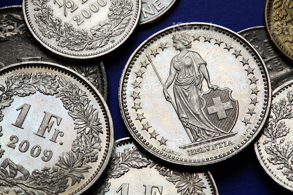 Coins of Switzerland stock photo