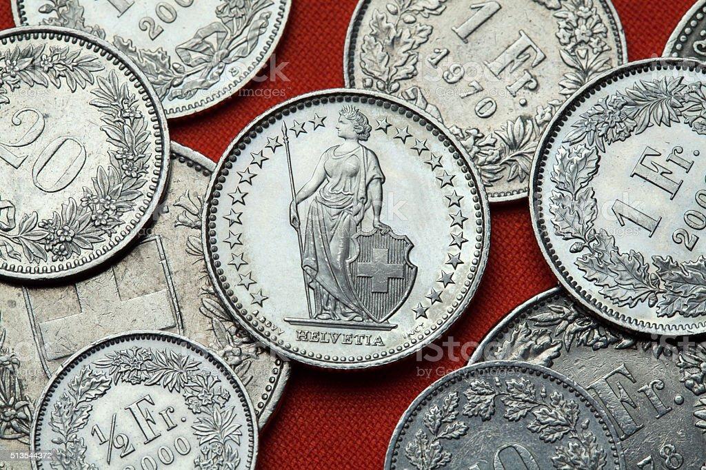 Münzen Der Schweiz Stehende Helvetia Stockfoto Istock