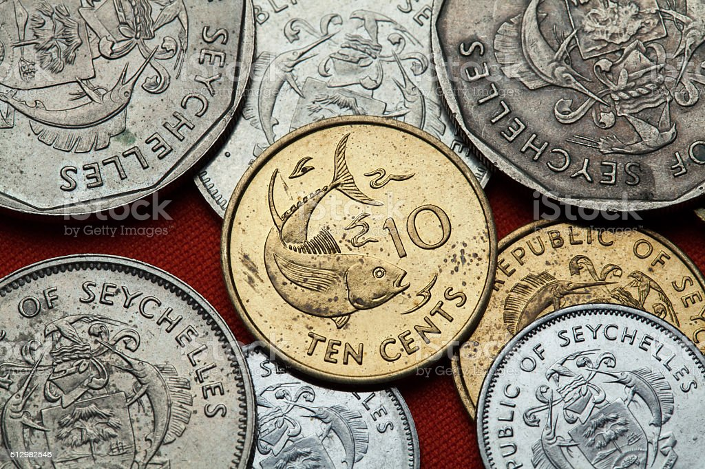 Coins of the Seychelles. Tuna fish stock photo