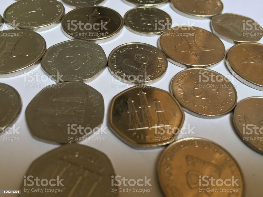 Coins of the United Arab Emirates stock photo