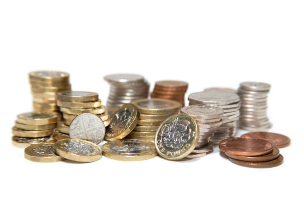 Coins of the United Kingdom Reading/United Kingdom - May 18, 2018: United Kingdom currency in coins. Various, including pound, 50p, 20p, 10p, 5p, 2p, and one pence. british currency stock pictures, royalty-free photos & images