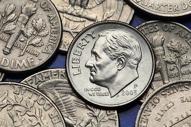 Coins of USA. US dime. Franklin D. Roosevelt Coins of USA. Franklin D. Roosevelt depicted on the US dime coin. dime stock pictures, royalty-free photos & images
