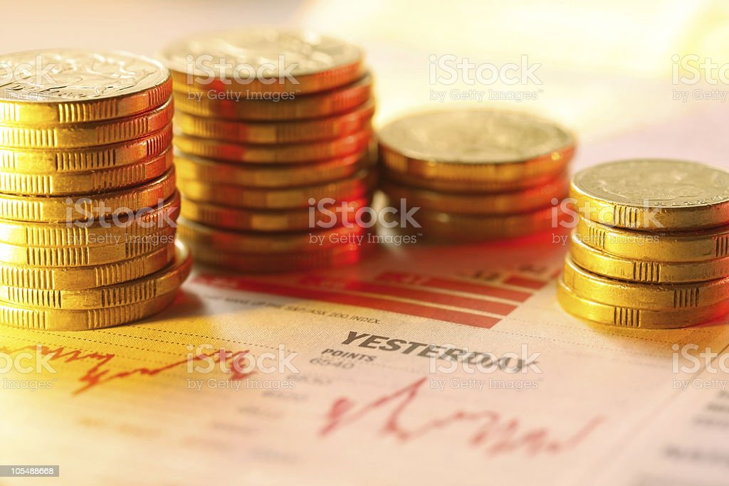 Coins on Graph royalty-free stock photo