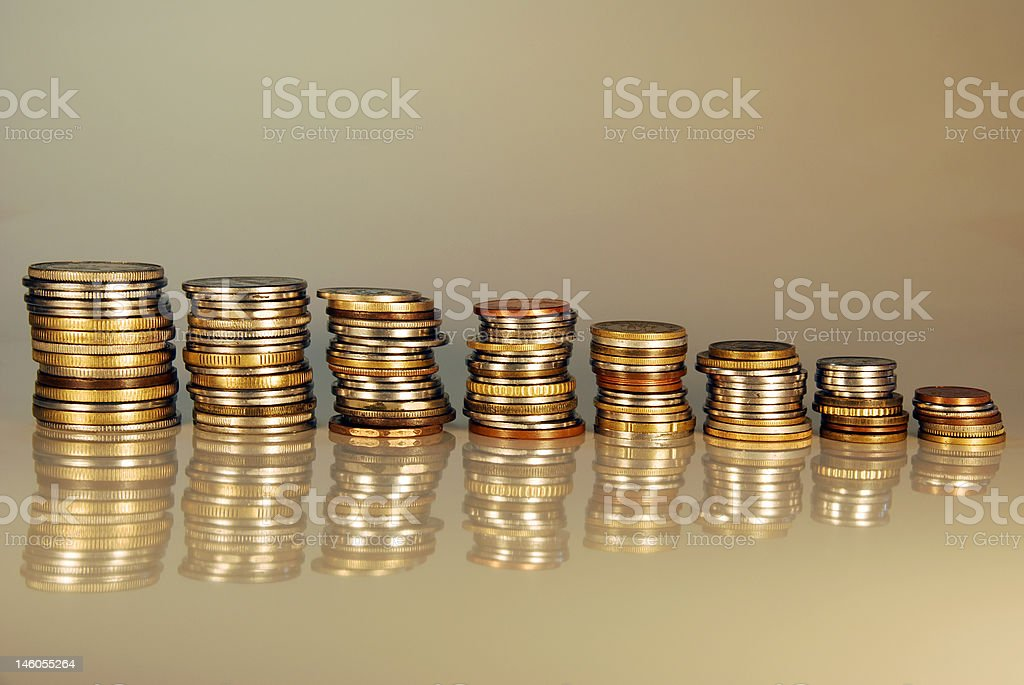 Coins on Gray Background royalty-free stock photo
