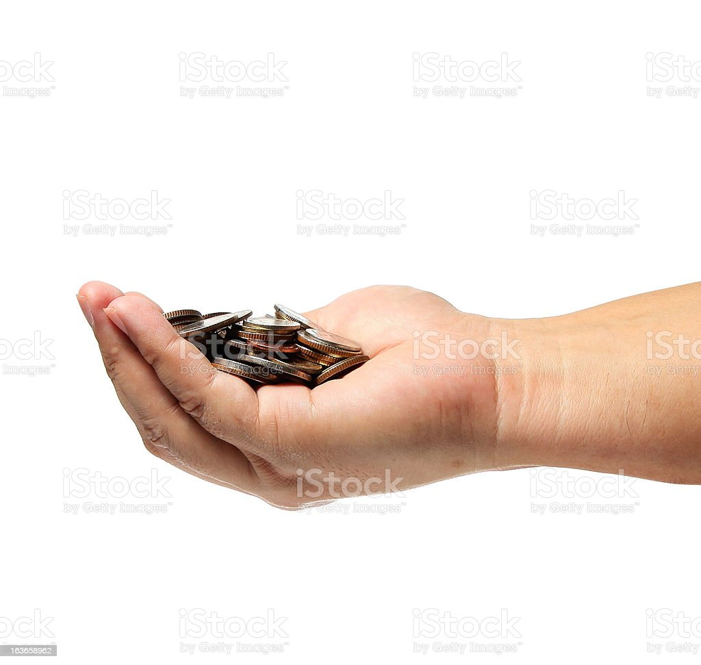 Coins on hand royalty-free stock photo